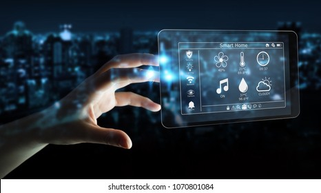 Businesswoman on blurred background using smart home remote device 3D rendering