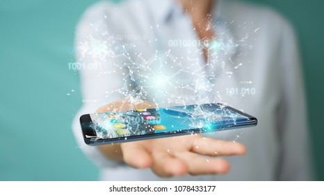 Businesswoman on blurred background using digital binary code on mobile phone 3D rendering