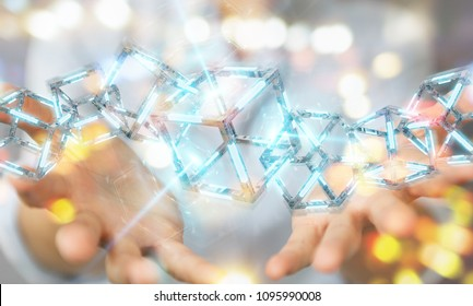 Businesswoman on blurred background using digital blue Blockchain 3D rendering