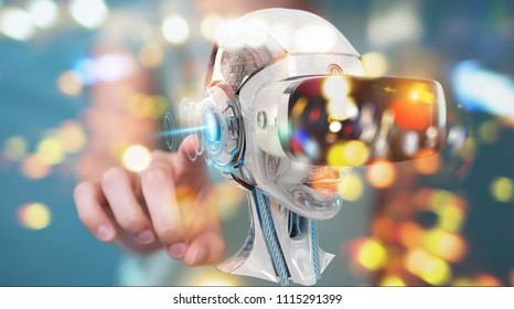 Businesswoman on blurred background using virtual reality and artificial intelligence 3D rendering