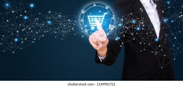 businesswoman on blurred background using digital payment interface.