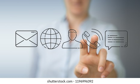 Businesswoman on blurred background using thin line contact icon