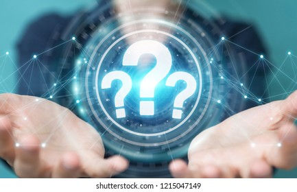 Businesswoman on blurred background using question marks digital interface 3D rendering
