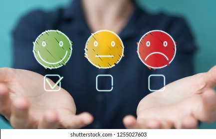 Businesswoman on blurred background using thin line customer satisfaction rating