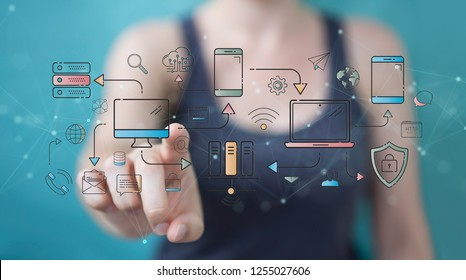 Businesswoman on blurred background using thin line icon project plan presentation