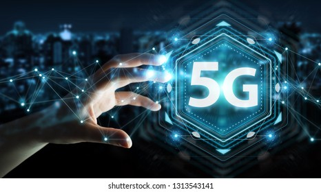 Businesswoman on blurred background using 5G network interface 3D rendering
