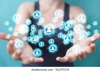 Businesswoman on blurred background using social network interface 3D rendering