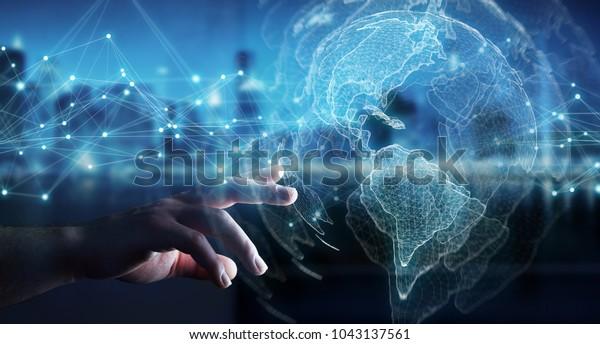 Geschäftsfrau auf unscharfem Hintergrund mit 3D-Rendering der US-Weltkarte