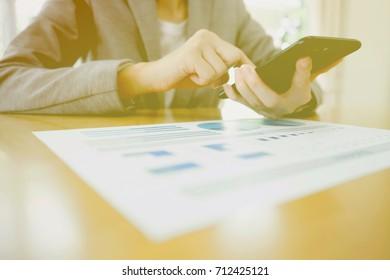 Businesswoman on her smartphone