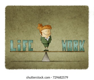 businesswoman on a scale in which are the words work and life