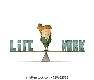 businesswoman on a scale in which are the words work and life. Isolated, white background.