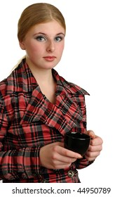 Businesswoman on a white background holding a coffee mug