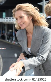 Businesswoman outside airport