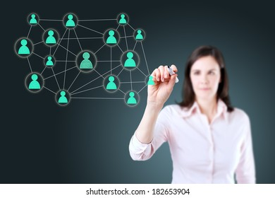 Businesswoman with pen drawing social network or multi level marketing connection concept illustration on a whiteboard.