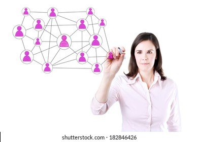 Businesswoman with pen drawing social network or multi level marketing connection concept illustration on a whiteboard. Office background.