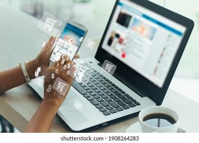 Geschäftsfrau Telefon und Laptop mit , Online-Shopping-Konzept.