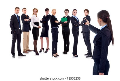 businesswoman picking someone from her team isolated on white