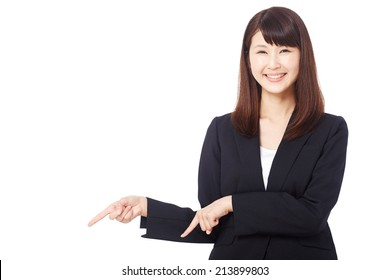 businesswoman pointing down