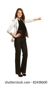 A businesswoman pointing with her finger, full-length portrait, isolated on white
