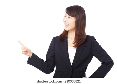 businesswoman pointing side