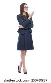 Businesswoman presenting something