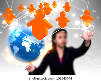 Businesswoman press social network