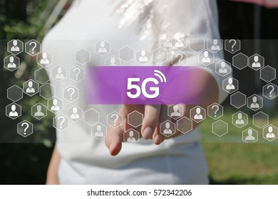 Businesswoman presses button 5G  on virtual screens .Businessman touching icon wireless connection.