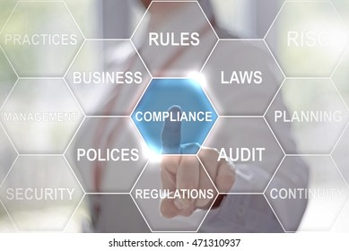 businesswoman presses compliance button on virtual hexagon screen. Businessman toched a compliance icon on touch screen. Company, strategy, business, finance, work concept.