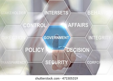 businesswoman presses government button on virtual hexagon screen. Businessman toched a government icon on touch screen. Company, strategy, business, finance, work concept, governance.