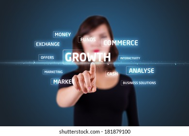 Businesswoman pressing business type of modern buttons with virtual background