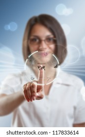 Businesswoman pressing modern buttons on a virtual background