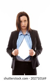 businesswoman pulling her shirt apart with a blank cutout