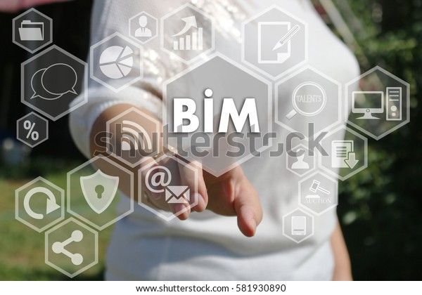 Businesswoman push button icon, BIM, building information modeling on the touch screen