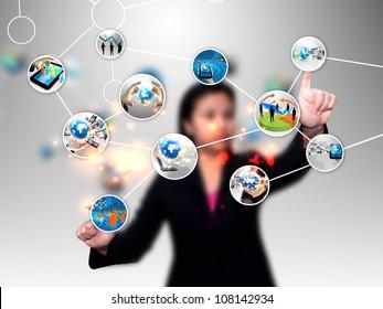 businesswoman pushing diagram