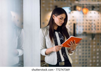 Businesswoman reading a document