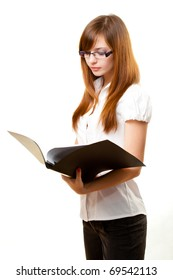 businesswoman reading documents over white