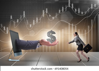 Businesswoman receiving investment in her startup business