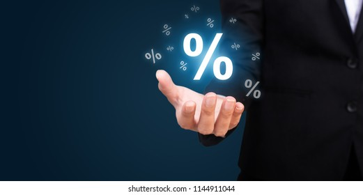 Businesswoman represents of the percentage discounts.