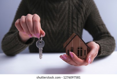 businesswoman residential building key