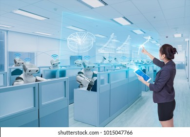 Businesswoman and robot team learning hologram business growth chart, Future technology concept