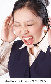 Businesswoman screaming in big stress.