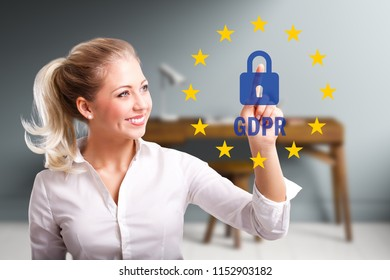 "businesswoman selecting an icon with many stars and the abbreviation ""GDPR"""