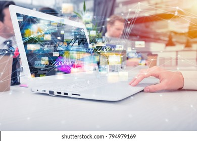 Businesswoman shares online document with a fast internet connection