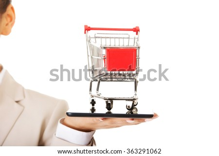c6797a812bce Businesswoman Shopping Cart Tablet Stock Photo (Edit Now) 363291062 ...