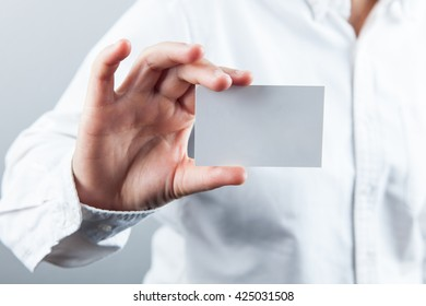 businesswoman show with name card