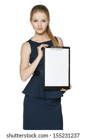 Businesswoman showing blank white paper clipboard, over white background