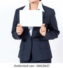 businesswoman showing a blank white sheet. concept for business