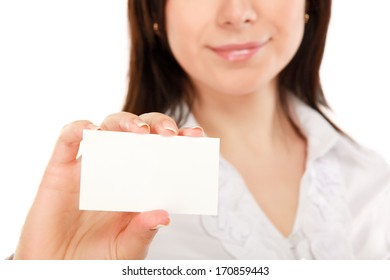 Businesswoman showing and handing a blank business card
