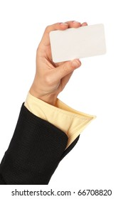 businesswoman showing her business card to the partners