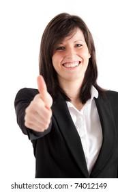 Businesswoman showing ok gesture